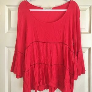 Red, Flowy Top